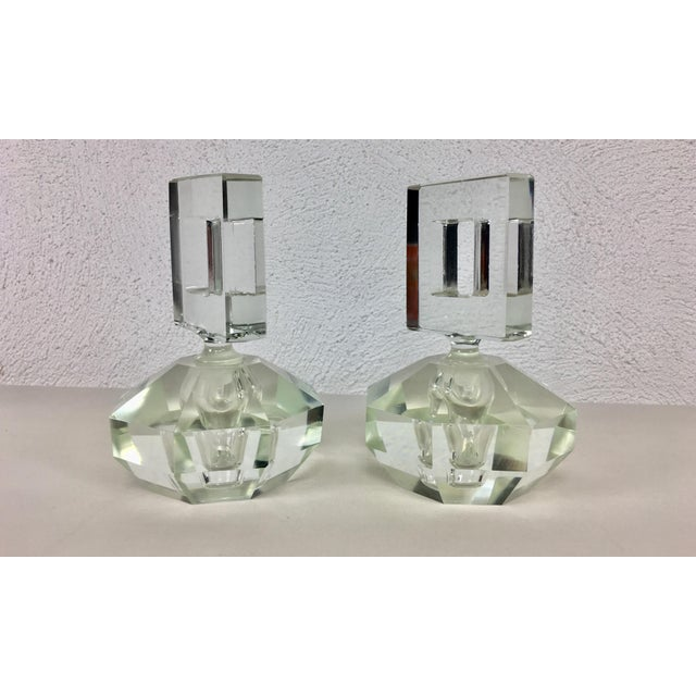 Art Deco Hand Cut Crystal Perfume Bottles – a Pair For Sale - Image 3 of 9