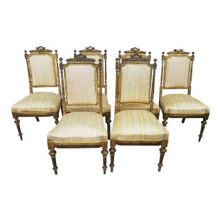 Set of 6 Antique French Louis XVI Dining Room Chairs For Sale