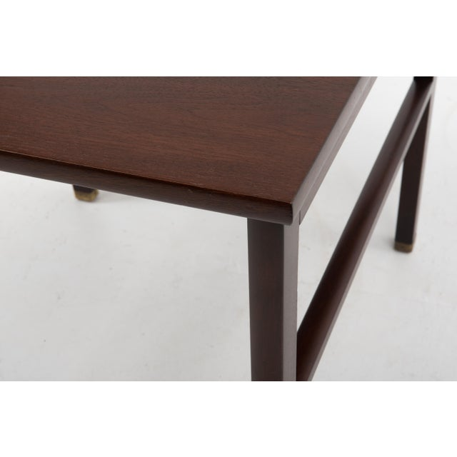 Wood Cantilevered Edward Wormley Dunbar Square Side End Table 1960s Walnut Brass Tag For Sale - Image 7 of 10