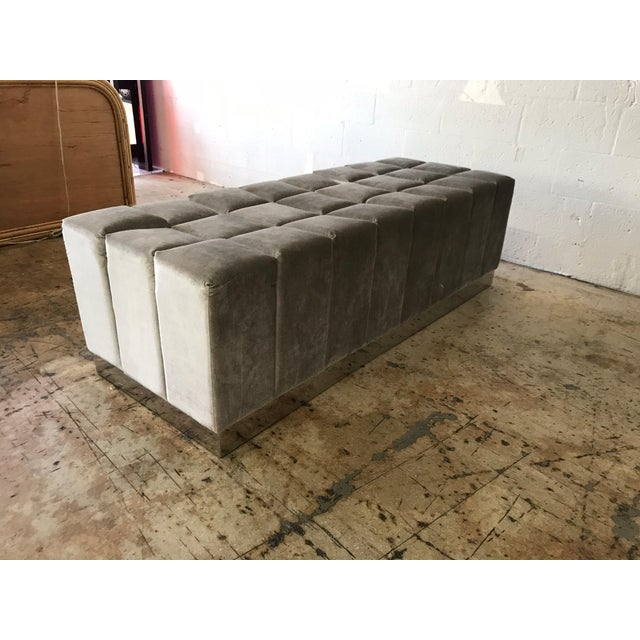 Harvey Probber Style Biscuit Tufted Grey Velvet and Steel Bench or Ottoman For Sale - Image 11 of 13
