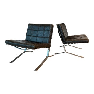 1960s Vintage Black Leather Olivier Mourgue Joker Lounge Chairs- A Pair For Sale