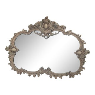 Large Rare Romantic Antique Cream French Rococo Ornate Fancy Hand Carved Gesso Wall Hanging Mirror For Sale