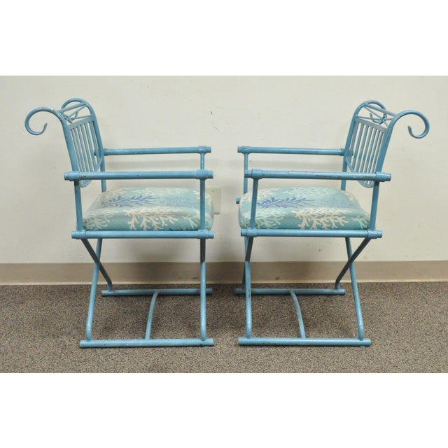 Pair of Vintage Hollywood Regency X Form Blue Iron Curule Directors Arm Chairs B - Image 4 of 11