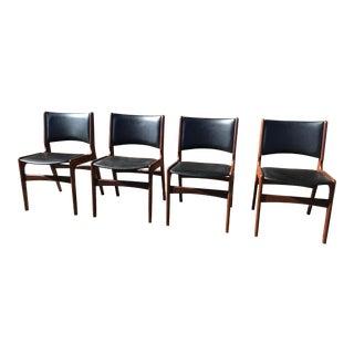 Mid Century Danish Modern Teak Dining Chairs by Henning Kjaernulf - Set of 4 For Sale