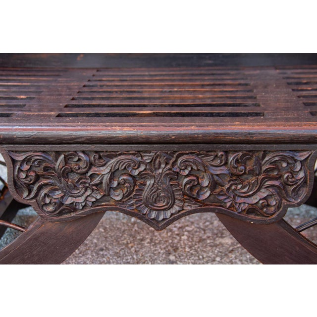 Wood Vintage Regal Burmese Carved Settee For Sale - Image 7 of 11