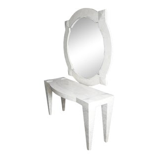 Maitland Smith Tesselated Marble Console & Mirror - 2 Pieces For Sale