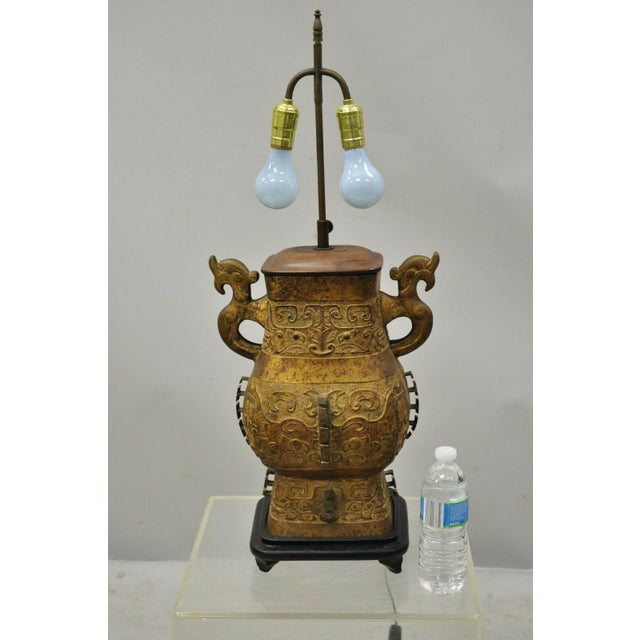 Antique Chinese Gilt Bronze & Rosewood Figural Double Light Table Lamp For Sale - Image 12 of 13