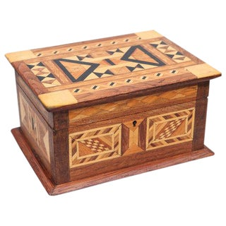 Folk Art Parquetry Box For Sale