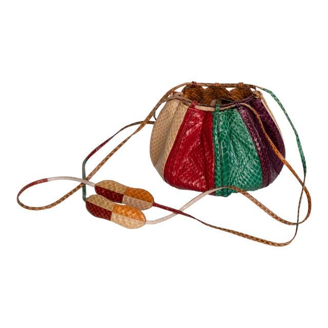 1980s Judith Leiber Multicolored Snakeskin Beach Ball Shoulder Bag For Sale