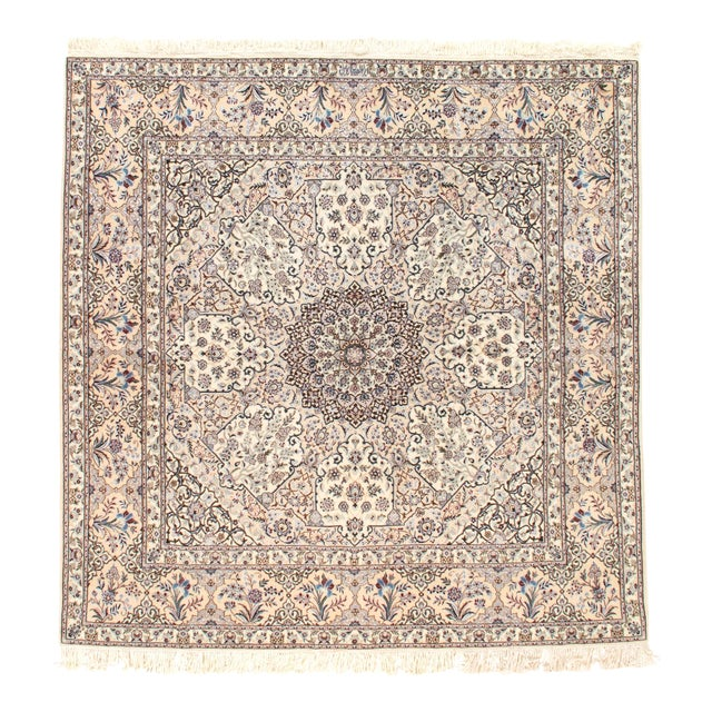 "Pasargad N Y Persian Nain Silk & Wool Rug - 6'11"" X 6'11"" For Sale"