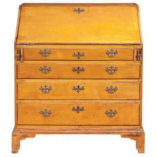 18th Century Chippendale Figured Maple Slant Front Desk For Sale