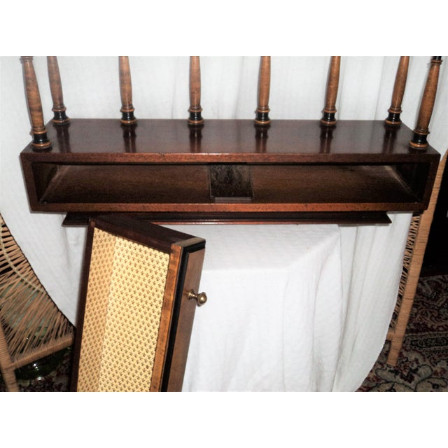 20th Century British Colonial Stiffel Solid Walnut Wood Ornate Wall Hanging Book Shelf With One Drawer For Sale - Image 9 of 12