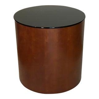 Mid Century Modern Applewood Cylinder Drum End/Side Table For Sale