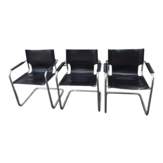 Mart Stam Style Solid Sling Back Cantelevered Leather and Chrome Chairs For Sale