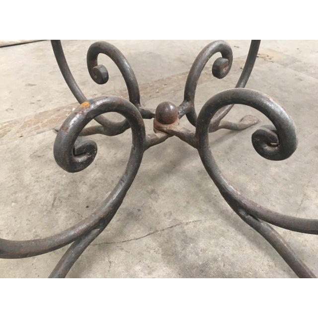 Metal Rustic French Bistro Walnut SideTables With Iron Bases - a Pair For Sale - Image 7 of 12