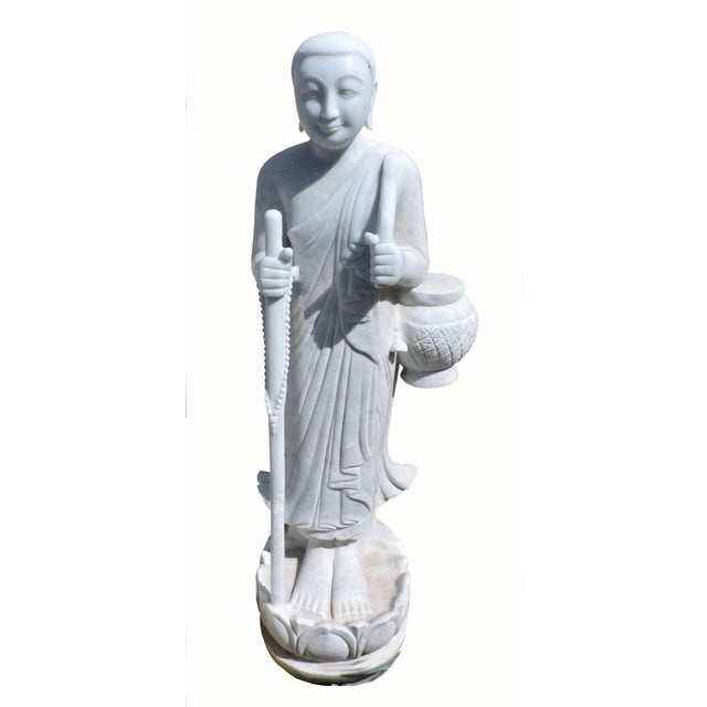 White Solid White Alabaster Burmese Traveling Monk For Sale - Image 8 of 8