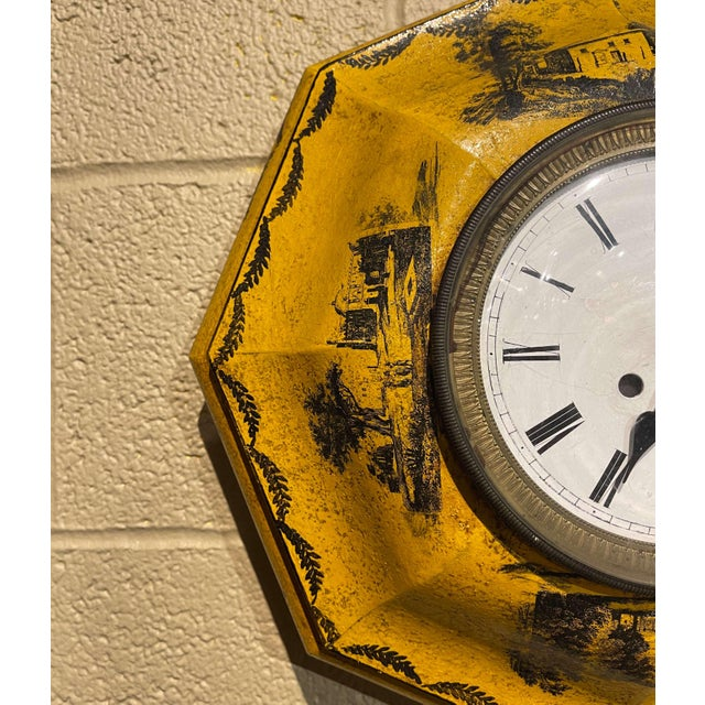 19th Century, French Napoleon III Painted Tole Wall Clock For Sale - Image 4 of 12