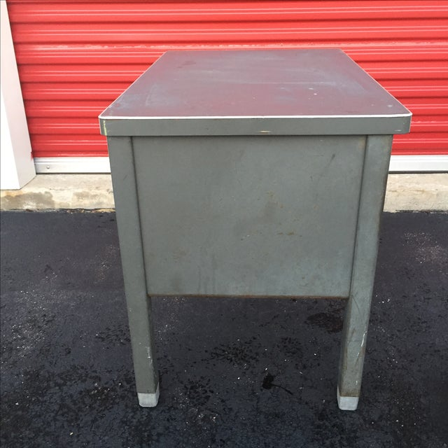 Silver Industrial Age Desk With Drawer by Art Steel For Sale - Image 8 of 11