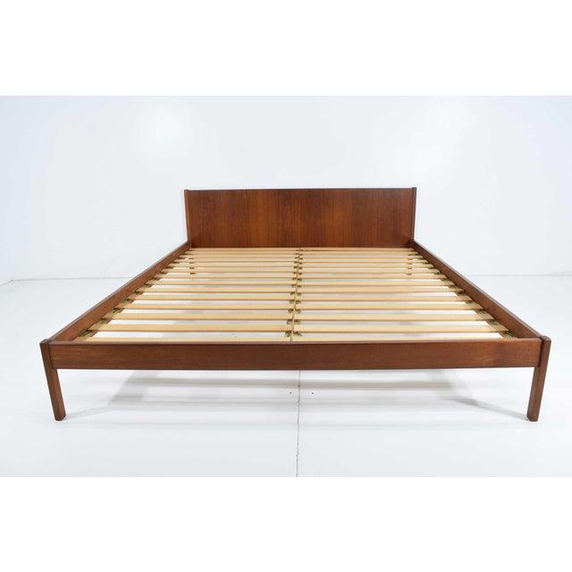 "Danish Modern Teak Oversized Queen Bed Frame, 69.5"" Wide For Sale - Image 10 of 10"