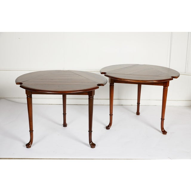 Pair of Vintage Statton Drop Leaf Tea Tables of Solid Cherry For Sale - Image 11 of 12