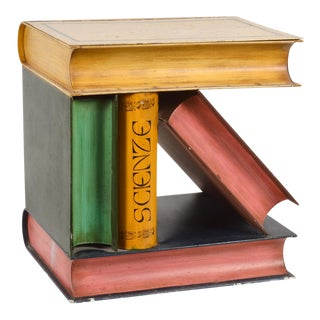 Unusual Vintage Painted Metal End Table Made of Faux Books With Storage For Sale
