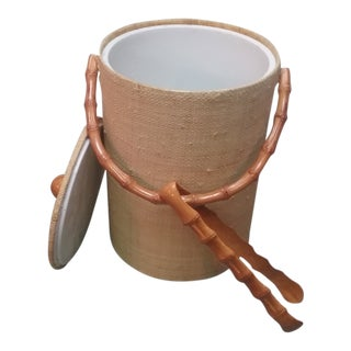 Rattan Wrapped Bamboo Accents Ice Bucket For Sale