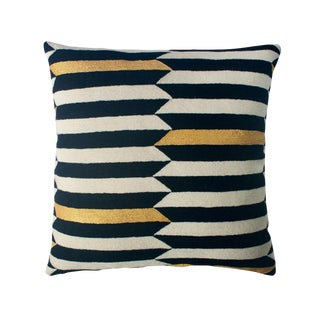 Modern Scarpa Piano Hand Embroidered Striped Wool Throw Pillow For Sale