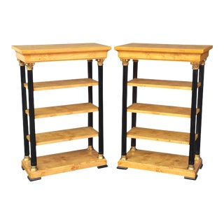 Biedermeier Style Open Bookcase Shelves - a Pair For Sale