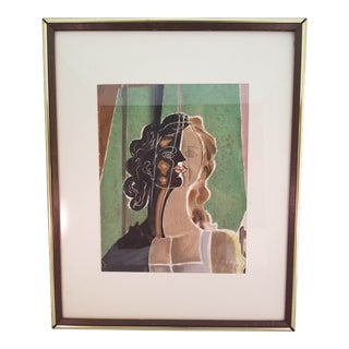 Vintage Mid-Century After Picasso Portrait of a Woman Painting For Sale