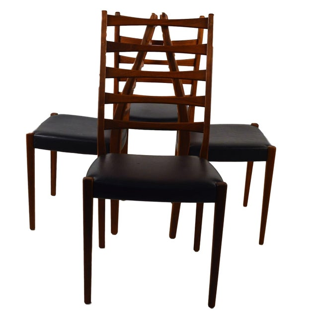 Set Of 4 Teak Ladder Back Chairs By Svegards - Image 4 of 10