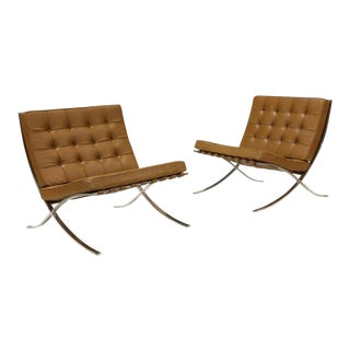 Mies Van Der Rohe for Knoll Barcelona Chairs - a Pair For Sale