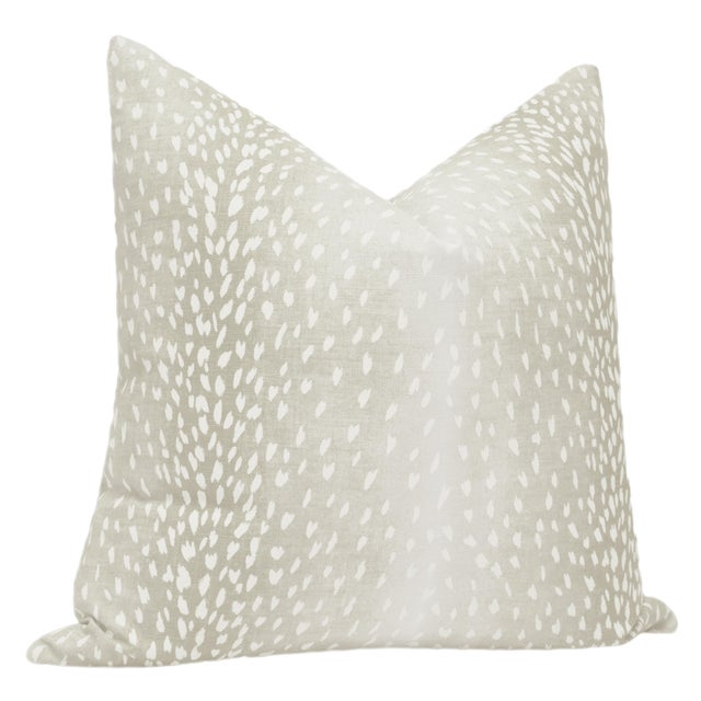 Contemporary Cashmere Antelope Linen Print Pillows - a Pair For Sale - Image 3 of 5