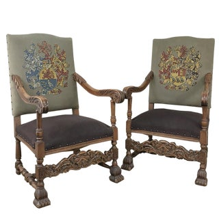 Pair 19th Century Louis XIII Armchairs With Embroidery For Sale