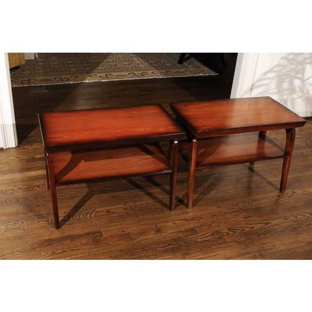 Mid-Century Modern Rare Restored Pair of End Tables by John Wisner for Ficks Reed, Circa 1954 For Sale - Image 3 of 13