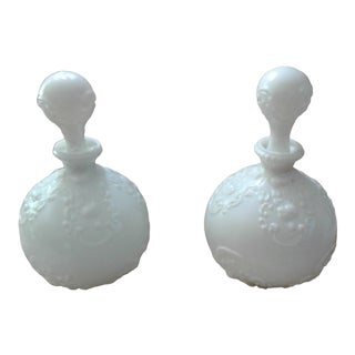 Antique White Glass Vanity Bottles With Stoppers - a Pair For Sale