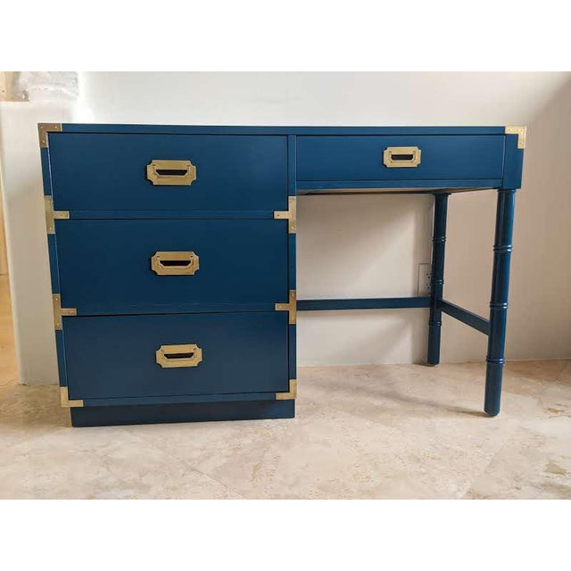 1970s Campaign Dixie Blue Gloss Desk For Sale - Image 10 of 10