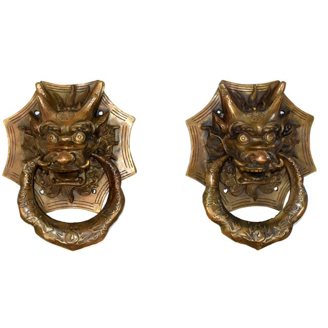Vintage Medium Asian Dragon Door Knockers- a Pair For Sale - Image 13 of 13