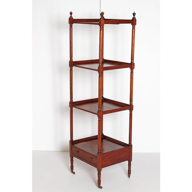 Georgian George III Four-Tier Mahogany Whatnot With Drawer For Sale - Image 3 of 13