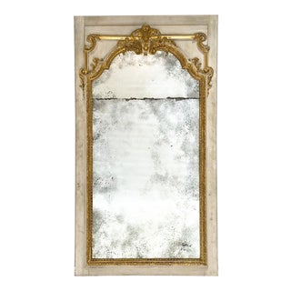 White and Gilt Trumeau Mirror For Sale