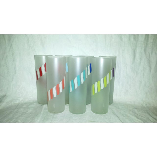 Libbey Mid-Century Frosted Highball Glasses - Set of 7 - Image 4 of 8