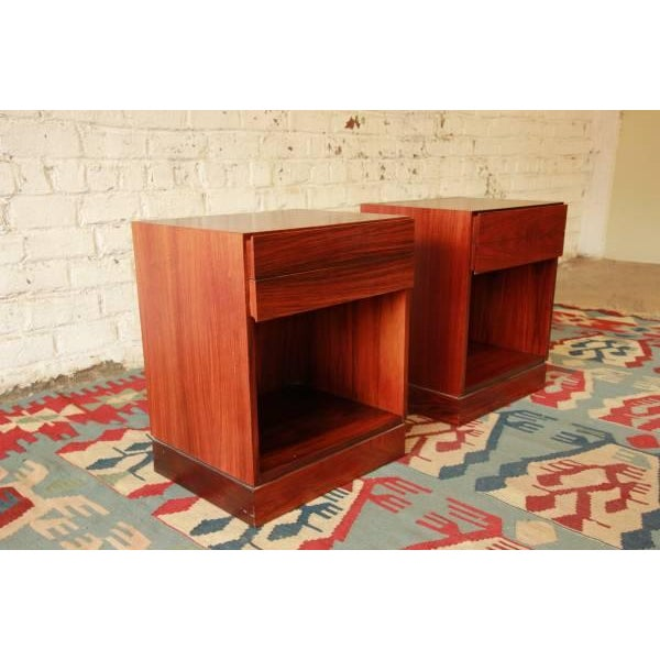 Danish Modern Rosewood Nightstands - Pair - Image 3 of 6