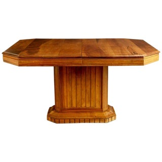 French Walnut Art Deco Dining Table or Center Table, Circa 1930