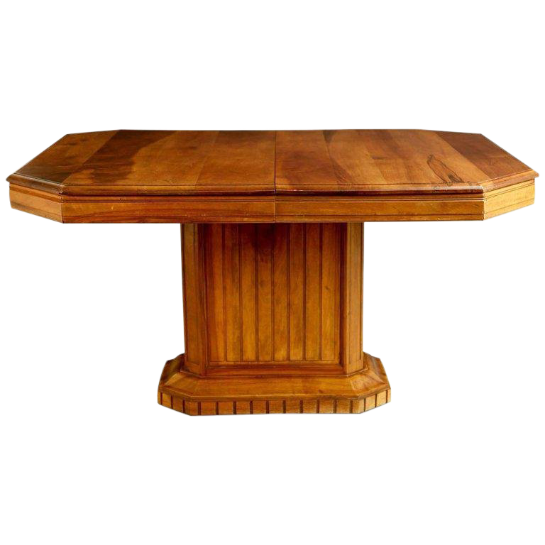 French Walnut Art Deco Dining Table Or Center Table, Circa 1930 For Sale