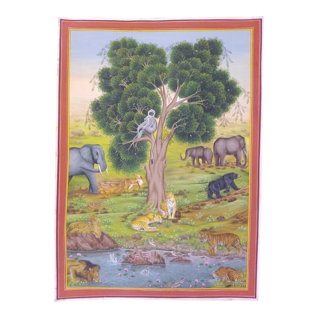 Hand Painted Detailed Tree of Life Fine Miniature Painting Delicate Vasli Paper Natural Colors Work Udaipur Art Work For Sale