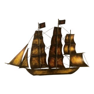 20th Century Brutalist Brass Metal Sailing Ship Wall Art