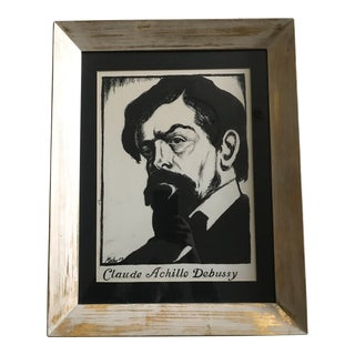 Portrait of Claude Debussy Framed Ink Drawing For Sale