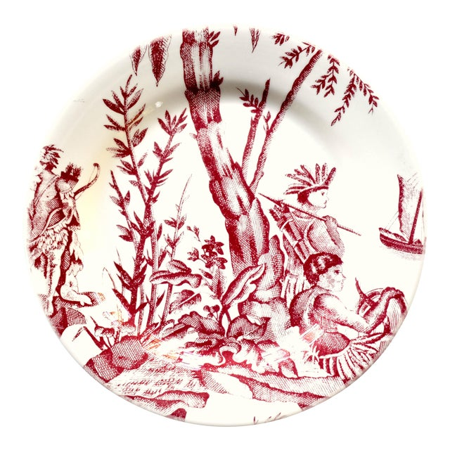"""French Gien & Pierre Deux """"Lafayette"""" Pattern Red Americas Toile Plate For Sale"""