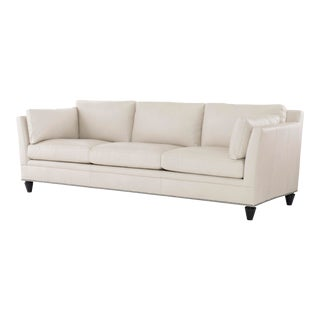 Century Furniture Bergman Sofa, Beige Leather For Sale