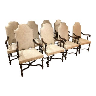 19th Century Baroque Styled French Armchairs Upholstered in Linen - Set of 8 For Sale
