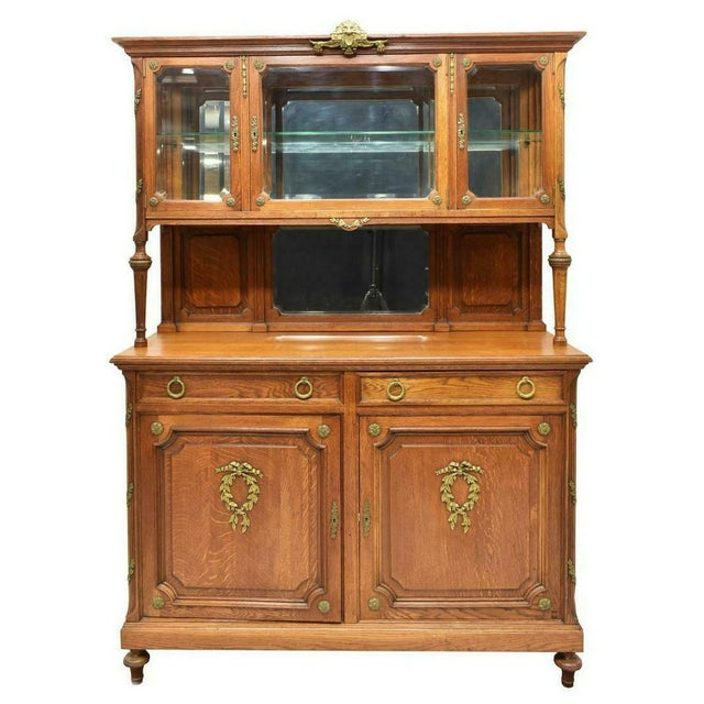 Beautiful antique French oak sideboard display cabinet, early 1900s! Gorgeous French oak server/display cabinet, early...